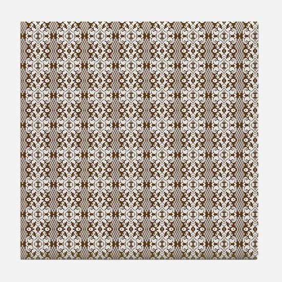Dark Gold Damask Tile Coaster