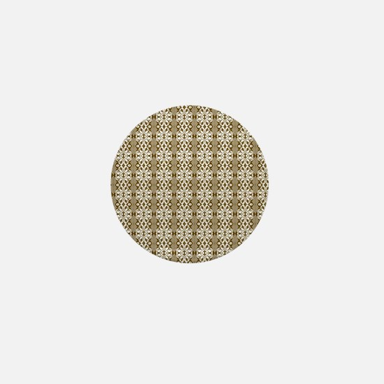 Dark Gold Damask Mini Button