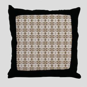Dark Gold Damask Throw Pillow