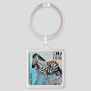 Vintage 1975 Germany Zoo Zebra Pos Square Keychain
