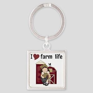 I Love Farm Life Square Keychain