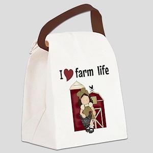 I Love Farm Life Canvas Lunch Bag