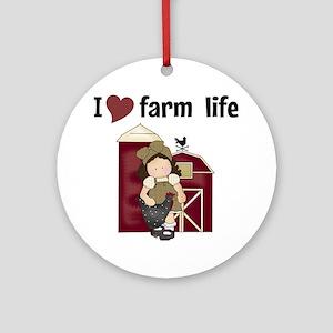 I Love Farm Life Round Ornament
