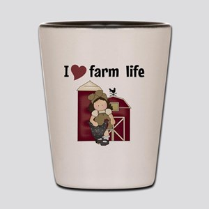 I Love Farm Life Shot Glass