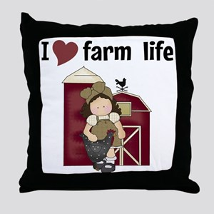 I Love Farm Life Throw Pillow
