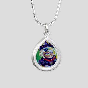 Miniature Schnauzer #1 Silver Teardrop Necklace