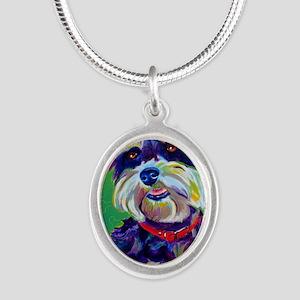 Miniature Schnauzer #1 Silver Oval Necklace