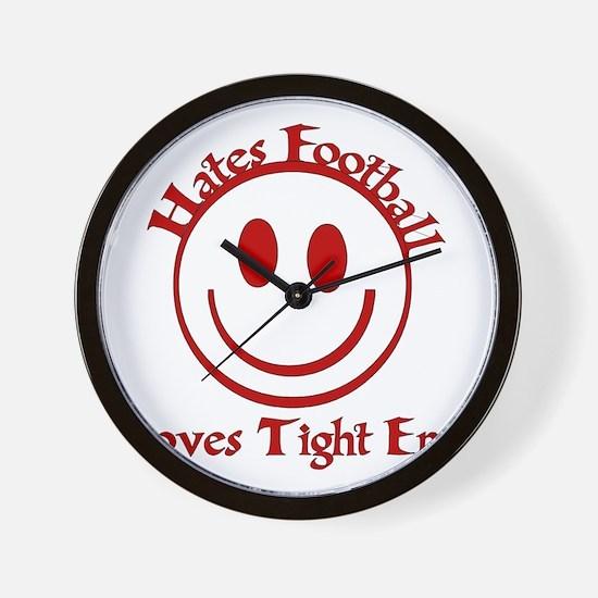 Hates Football Loves Tight Ends Wall Clock