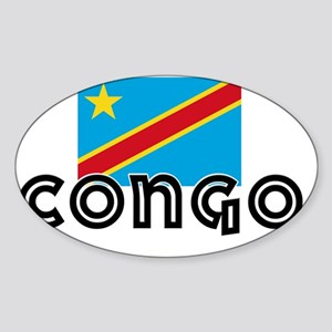 I HEART CONGO FLAG Sticker (Oval)