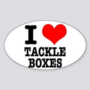 I Heart (Love) Tackle Boxes Oval Sticker