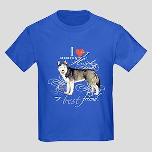 Siberian Husky Kids Dark T-Shirt
