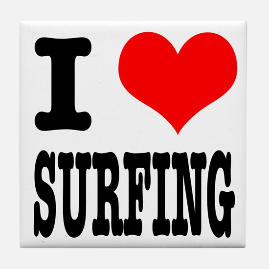I Heart (Love) Surfing Tile Coaster
