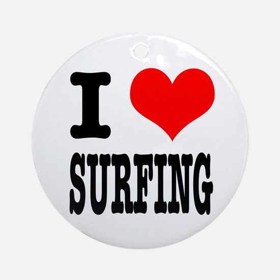 I Heart (Love) Surfing Ornament (Round)