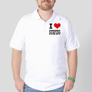 I Heart (Love) Surfing Golf Shirt