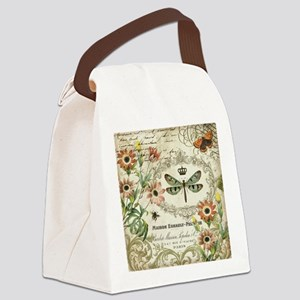 Modern Vintage French dragonfly Canvas Lunch Bag