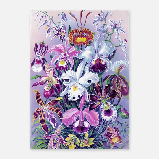 Cattleya, Lady Slipper Orchids 34 X 5'x7'Area Rug