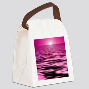 pink ocean sunset Canvas Lunch Bag