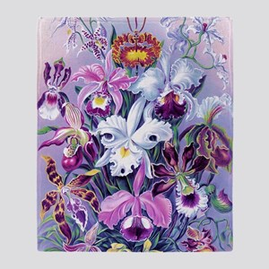 Cattleya, Lady Slipper Orchids 34 X  Throw Blanket