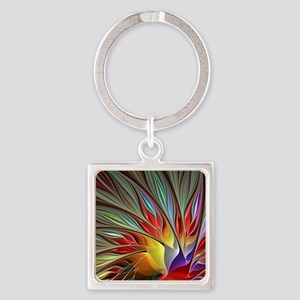 Fractal Bird of Paradise for All O Square Keychain