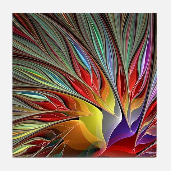 Fractal Bird of Paradise for All Over Tile Coaster