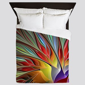 Fractal Bird of Paradise for All Over  Queen Duvet