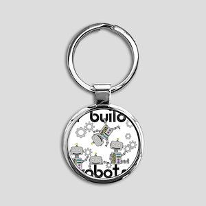 I Build Robots Round Keychain