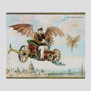 Vintage Art Flying Machine Dirigible Throw Blanket