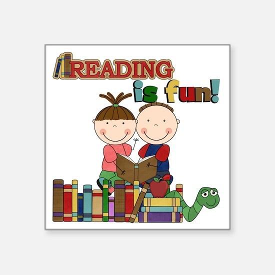 """Reading is Fun Square Sticker 3"""" x 3"""""""