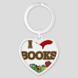 I Love Books Heart Keychain