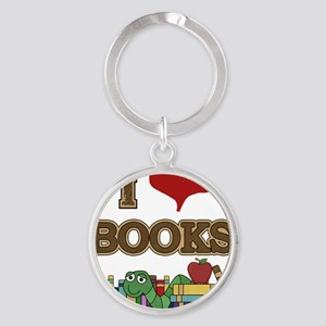 I Love Books Round Keychain