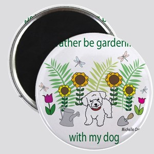 gardening with my   -many dog breeds Magnet