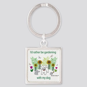 gardening with my   -many dog bree Square Keychain