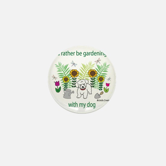 gardening with my   -many dog breeds Mini Button