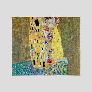 The Kiss by Gustav Klimt, Vintage Ar Throw Blanket