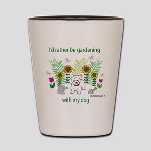 gardening with my   -many dog breeds Shot Glass