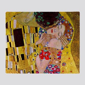 The Kiss detail, Gustav Klimt, Vinta Throw Blanket