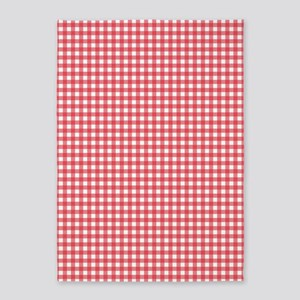 Red And White Gingham Plaid Pattern 5 X7 Area Rug
