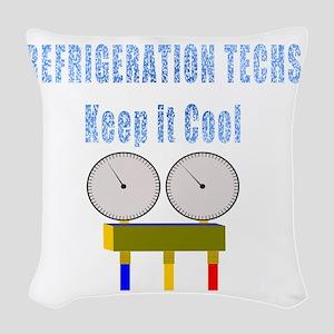 Refrigeration techs keep it co Woven Throw Pillow