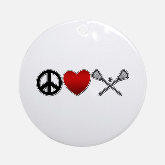 Peace Love Play Lacrosse Ornament (Round)