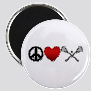 Peace Love Play Lacrosse Magnet