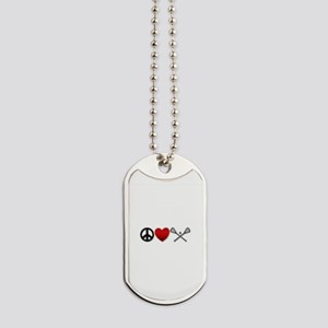 Peace Love Play Lacrosse Dog Tags