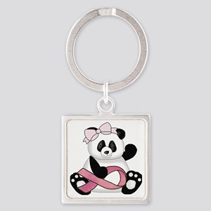 cute breast cancer pink ribbon pan Square Keychain