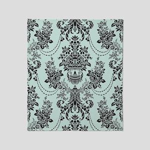 pale blue and black rose ornate dama Throw Blanket