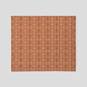 rust orange ornate stripes damask pa Throw Blanket