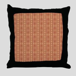 rust orange ornate stripes damask pat Throw Pillow