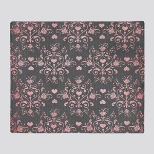 girly pink heart love damask on wash Throw Blanket