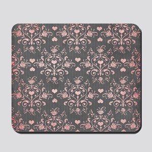 girly pink heart love damask on washed g Mousepad