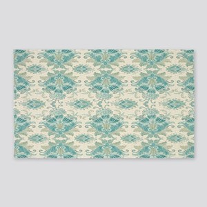ecru and teal fancy damask pattern 3'x5' Area Rug