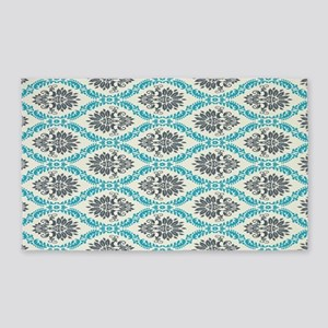 ornate teal and grey damask pattern 3'x5' Area Rug