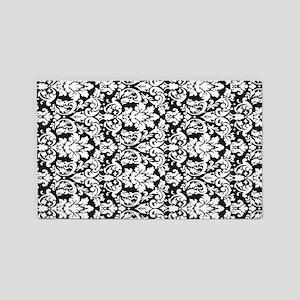 ornate intricate white black damask 3'x5' Area Rug